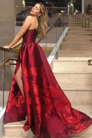Unique A Line Strapless Burgundy Satin Prom Dresses With Appliques Formal SMEPYZN65CB