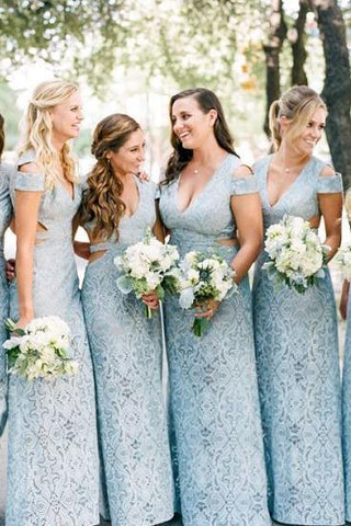 Mermaid Lace Baby Blue V Neck Bridesmaid Dresses for Wedding SME15653