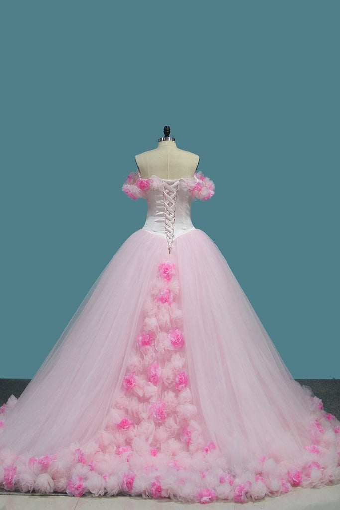 2019 Tulle Ball Gown Off The Shoulder Quinceanera Dresses With