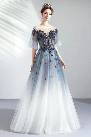 A Line Half Sleeves Tulle Long Ombre Prom Dress with Appliques Blue Evening Dresses SME15001