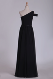 2021 One Shoulder Ruched Bodice A Line Chiffon Bridesmaid Dresses