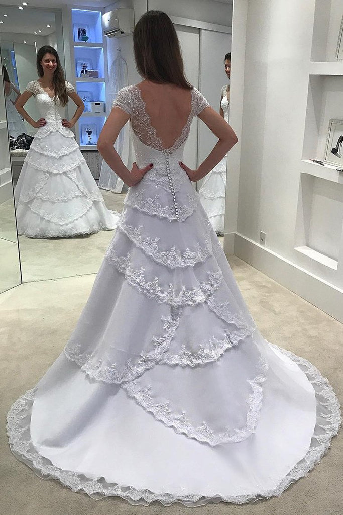 2019 V Neck Short Sleeves A Line Wedding Dresses Tulle With Applique Sweep