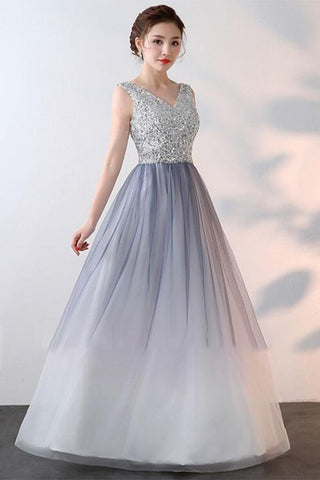 Elegant A-Line Ombre Tulle Beads V-Neck Sleeveless Open Back Prom Dresses UK SME536