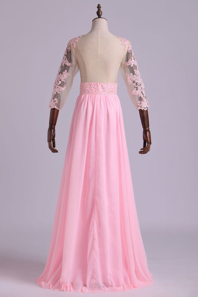 2020 Mid-Length Sleeve A-Line Scoop Chiffon Prom Dresses Floor-Length With Applique & Bow-Knot