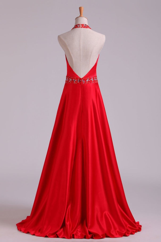 2019 Open Back A Line Halter Satin Prom Dresses With Beading Floor Length