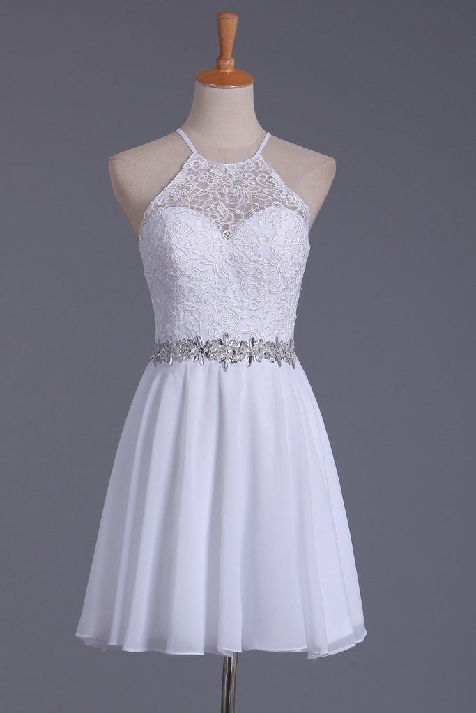 2019 White Halter Homecoming Dresses A Line Chiffon & Lace