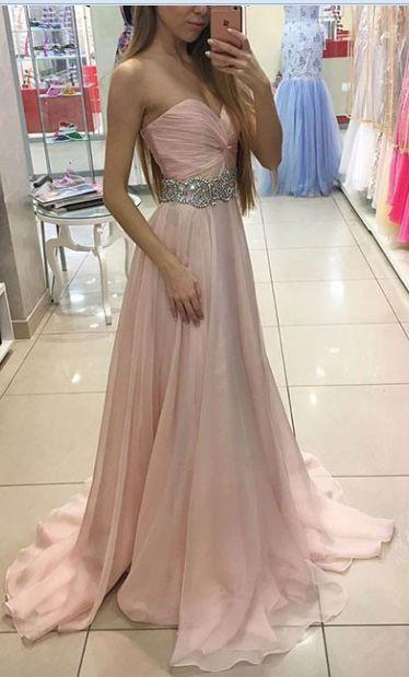 Sweetheart Charming Strapless Handmade A-Line Beads Formal Prom Dresses JS759