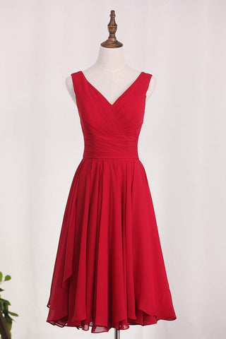 V Neck Chiffon Bridesmaid Dresses With Ruffles A Line