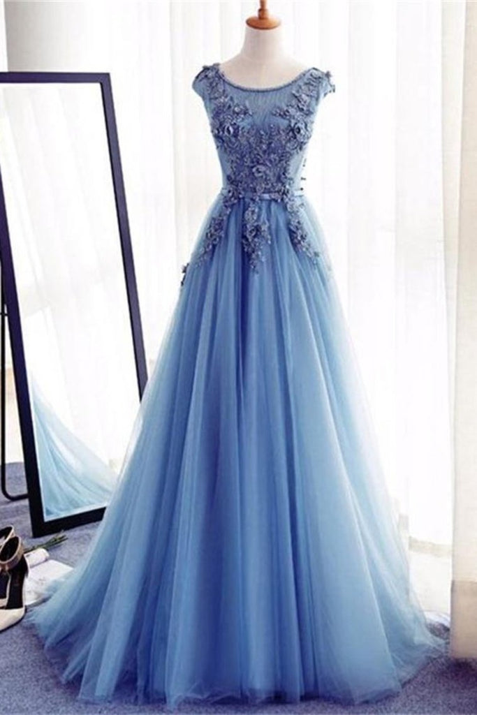 Charming Blue Long Lace Tulle Open Back Lace Up Princess Prom