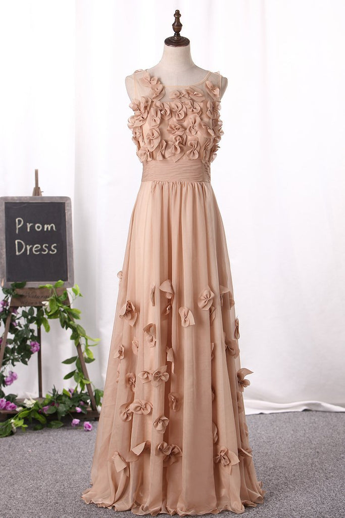 2019 Prom Dresses Scoop A Line With Handmade Flower And Ruffles Floor