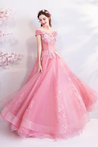 Off The Shoulder Puffy Tulle Prom Dresses, Floor Length Appliqued Quinceanera