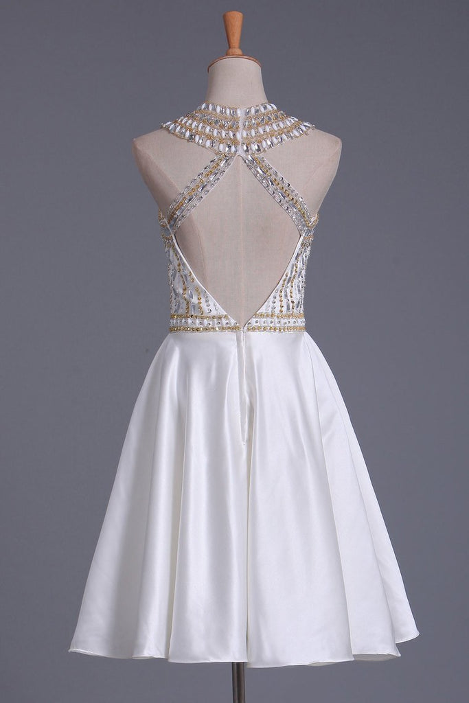 2021 New Arrival Scoop Beaded Bodice Homecoming Dresses A Line Satin