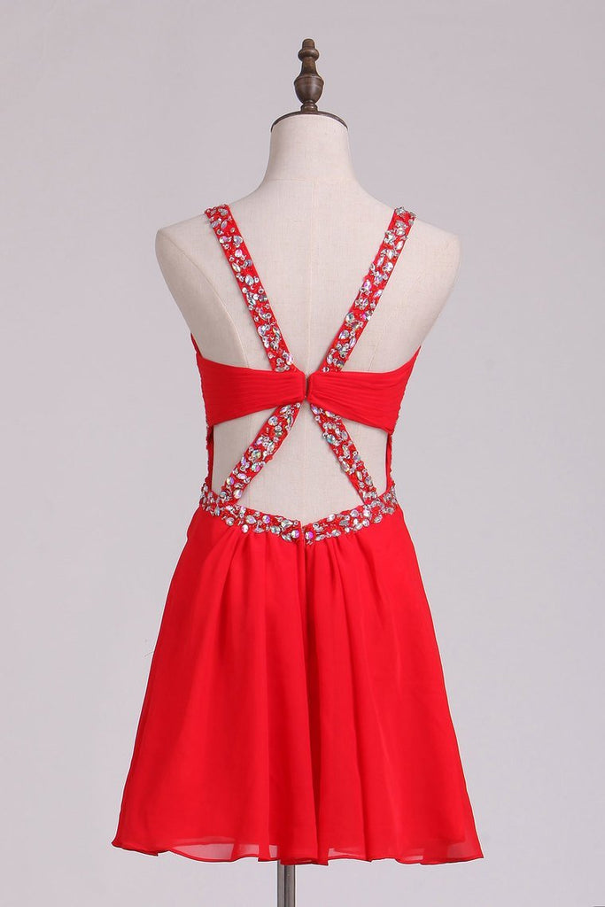2019 Straps A Line Open Back Homecoming Dress With Beads