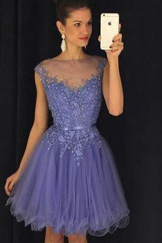 Stunning Bateau Cap Sleeves Short Lavender Homecoming Dress with Appliques Pearls JS449