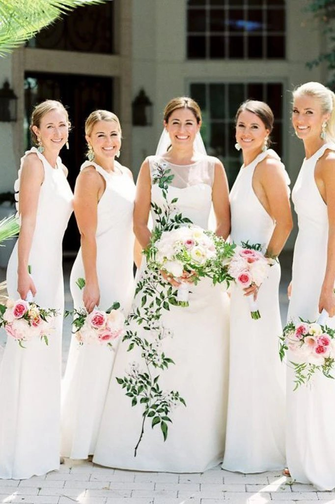 Elegant White Mermaid Chiffon Bridesmaid Dresses, Long Sleeveless Wedding Party Dress SME15218