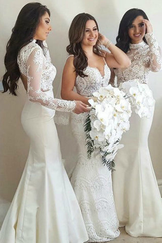 Long Sleeve Mermaid High Neck Ivory Bridesmaid Dress with Lace,Wedding Party SME20486