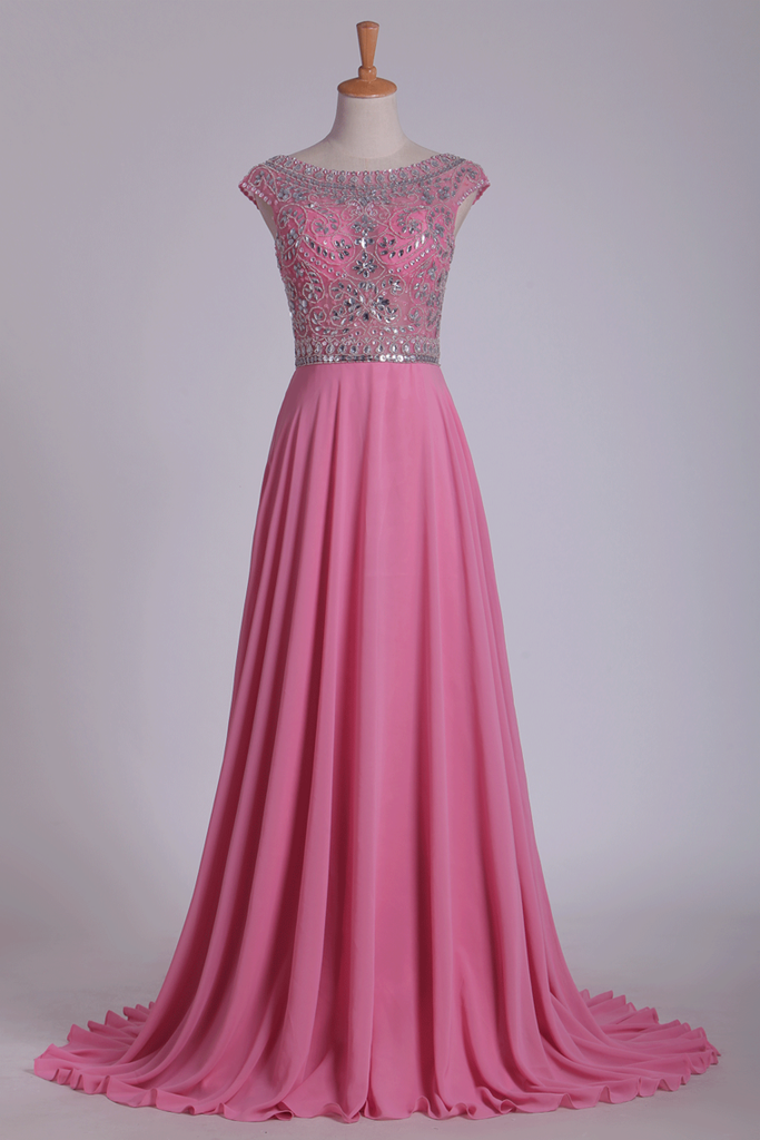 Scoop Prom Dresses Cap Sleeves A Line With Beading Sweep