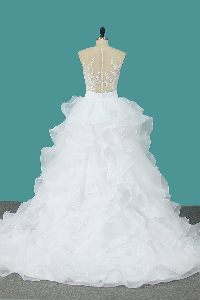 Scoop Tulle With Applique Detachable Wedding Dresses