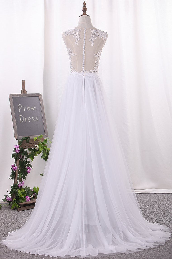 2020 A Line Tulle Scoop With Applique And Slit Wedding