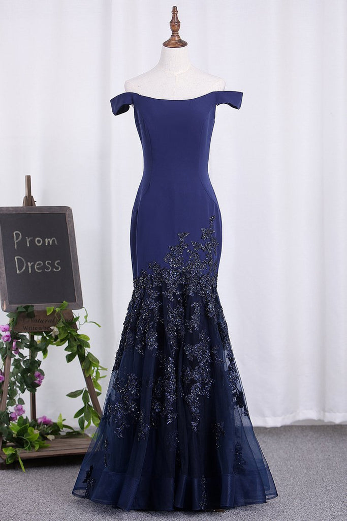 2021 New Arrival Mermaid Off The Shoulder Tulle Evening Dresses With