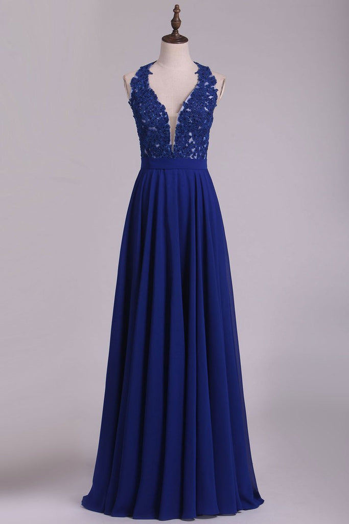 2020 Chiffon V Neck A Line With Applique And Beads Prom Dresses Open Back