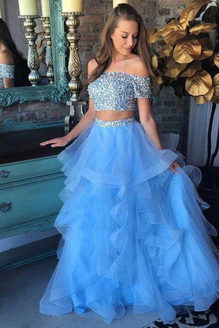 Sparkly Long 2 Pieces Off The Shoulder Light Blue Beading Prom