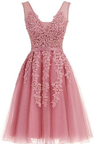 Short Dusty Rose Homecoming Dresses Lace Beads Tulle Appliqued Princess Hoco Dress JS729