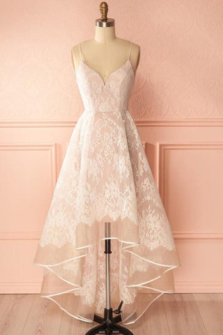 Spaghetti Straps Pink And Ivory Open Back Lace High Low Prom