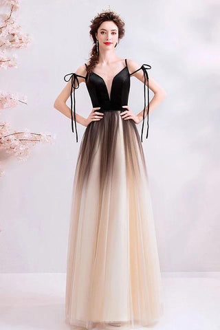 Spaghetti Straps Black Deep V Neck Formal Dress, Floor Length Tulle Ombre Prom Dresses SME15409