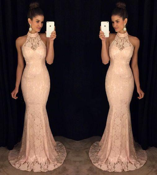 New Elegant Round Neck Sequin Mermaid Chiffon Long with Slit Beads Prom Dresses JS772