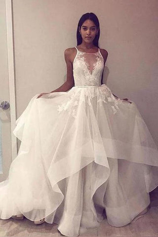A Line Sleeveless Tulle Prom Dress With Appliques, Cheap Beach Wedding