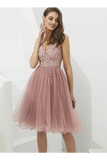 V-Neck Tulle With Beaded Short Homecoming