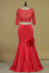 Two-Piece Bateau Mermaid Prom Dresses Satin With Beads And Handmade