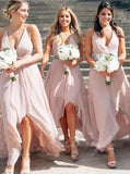 A Line Chiffon V Neck High Low Blush Pink Long Minimalist Bridesmaid Dresses