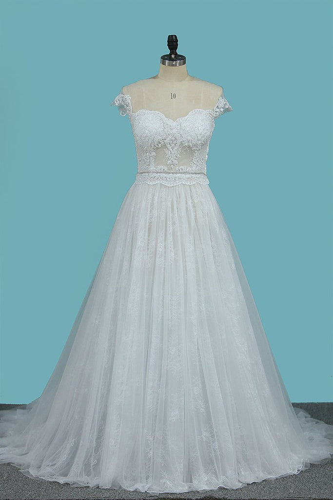 Wedding Dresses Off The Shoulder Tulle A Line With Applique Court