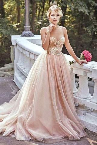 Modest Lace Blush Pink Spaghetti straps Tulle Beading Sweetheart Long Prom Dresses JS173