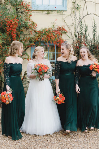 Elegant Chiffon Off Shoulder Emerald Green Lace Long Sleeves Bridesmaid Dresses