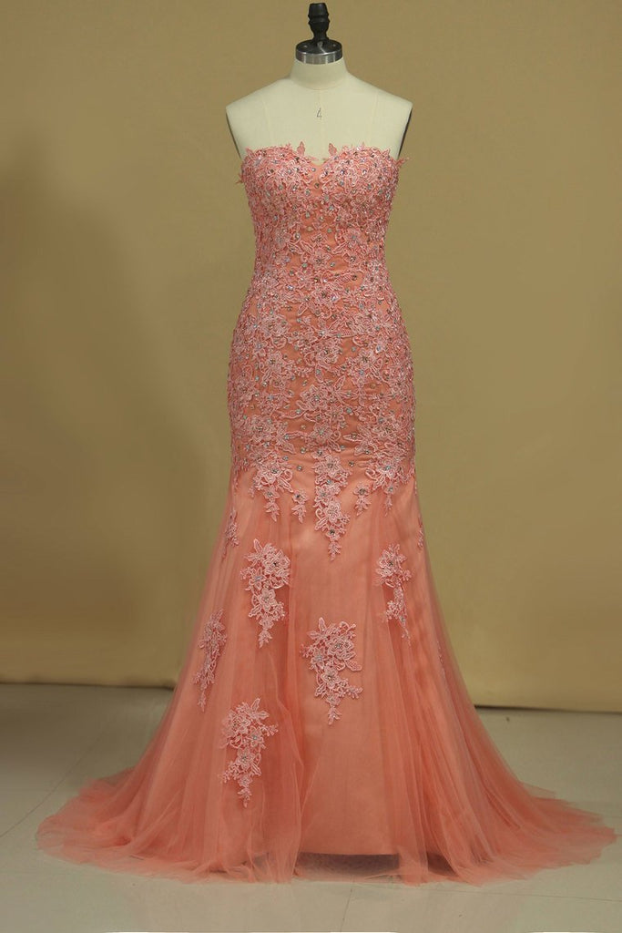 2020 Mermaid Prom Dresses Sweetheart With Beading And Applique Tulle Sweep/Brush Train
