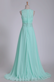 2021 Mint Prom Dresses A-Line Bateau Chiffon With Beads And Ruffles Floor-Length