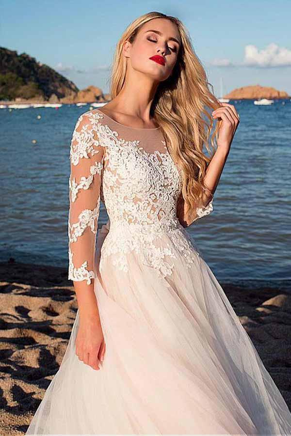 Tulle Scoop Neckline Pink A-line Lace Appliques Long Sleeves Bowknot Wedding Dresses SME311