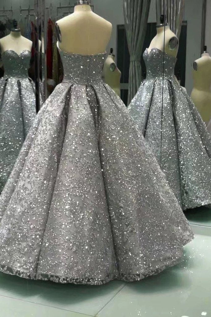 Sweetheart Gray Sleeveless Long Sequins Strapless Ball Gown Shiny Winter Prom Dresses JS575