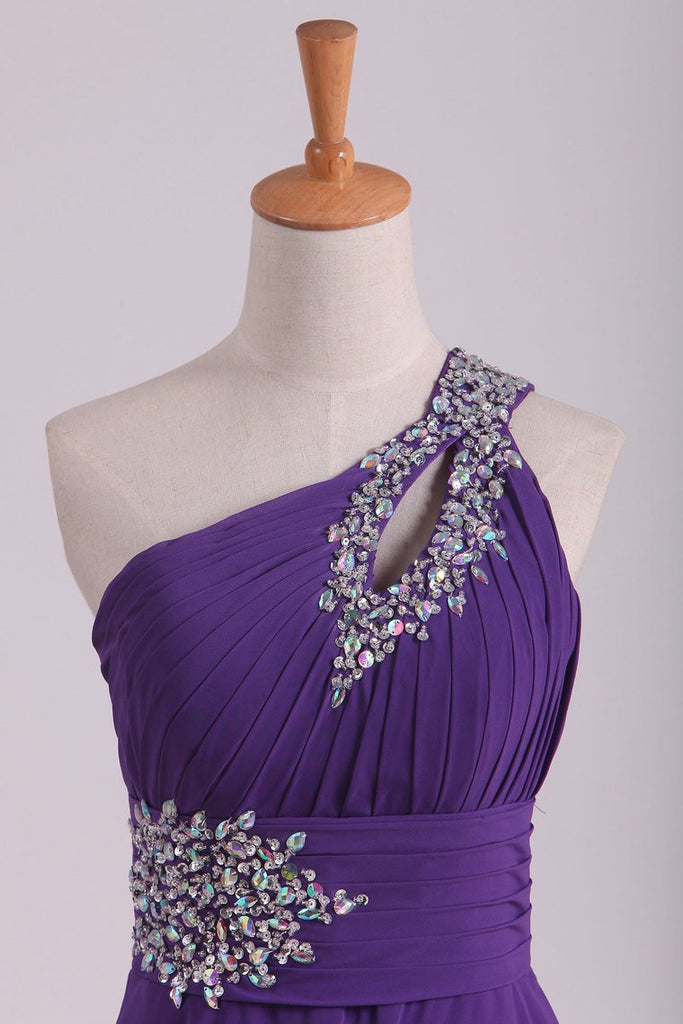 2021 New Arrival Prom Dresses One Shoulder Chiffon A Line With Beading