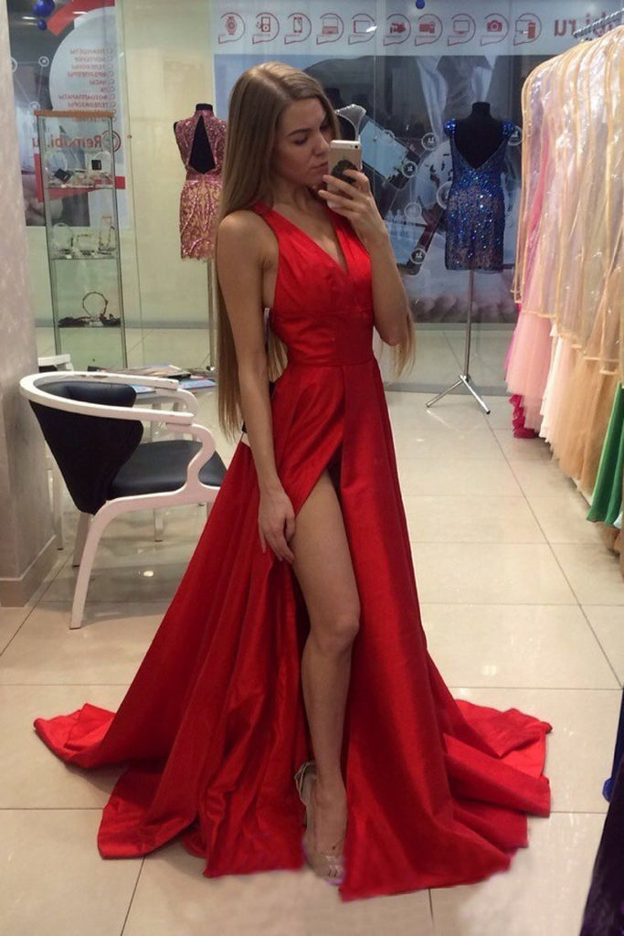 Red V Neck Evening Dresses A Line Sweep Train With Slit And