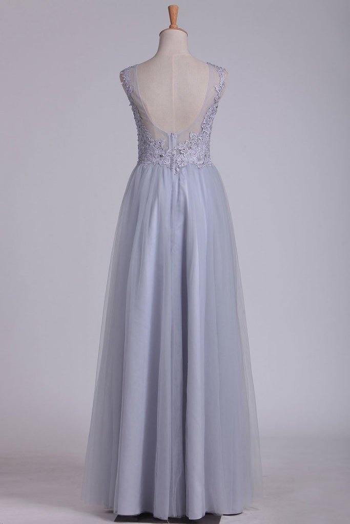 Prom Dresses Bateau Open Back A Line Tulle With Applique Floor Length