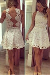 See through Lace Short A-Line Cute Sexy Cheap Dresses for Homecoming Graduation Dress JS440