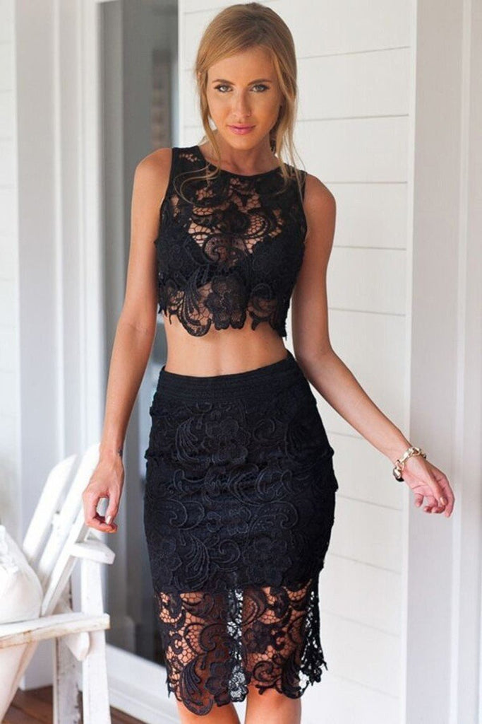 2019 Two-Piece Scoop Sheath Lace With Slit Knee Length Cocktail
