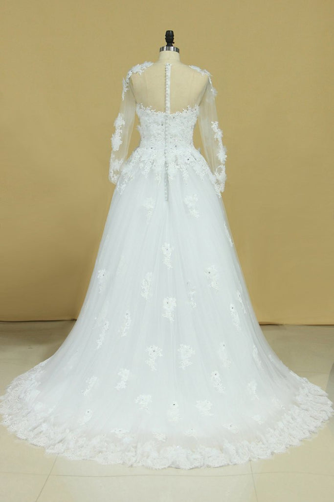 2019 Hot Long Sleeves Wedding Dresses Scoop Tulle With Applique