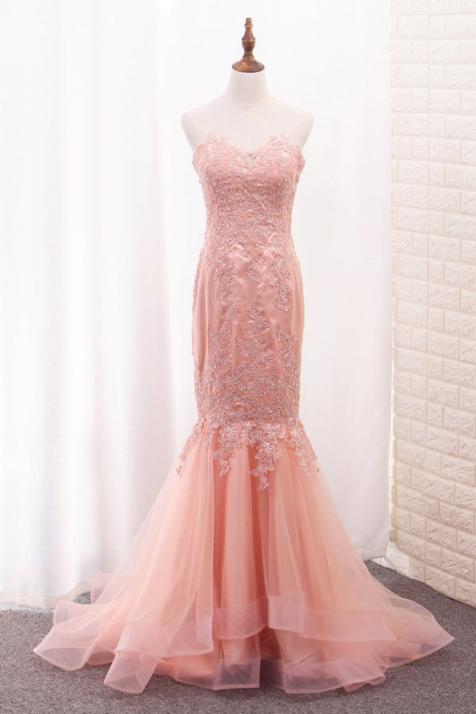 Sweetheart Mermaid Tulle Prom Dresses With Applique