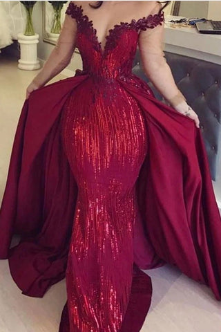 Mermaid Off the Shoulder Burgundy Long Sleeves V Neck Prom Dresses with Detachable Train SME15263
