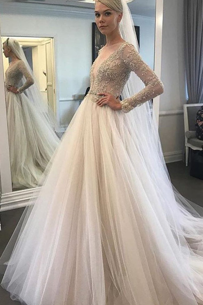 2020 Long Sleeves Bateau Wedding Dresses Tulle A Line With Applique